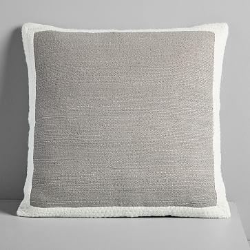 "Textured Border Pillow Cover, Platinum , 20""x20"""
