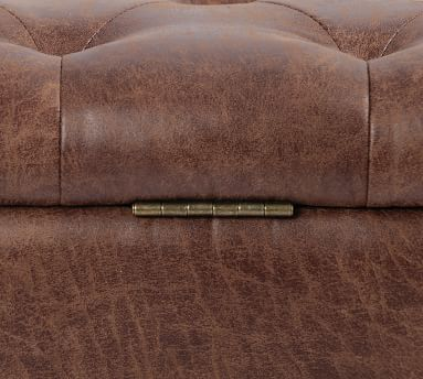 Jay Tufted Leather Storage Bench, Tobacco