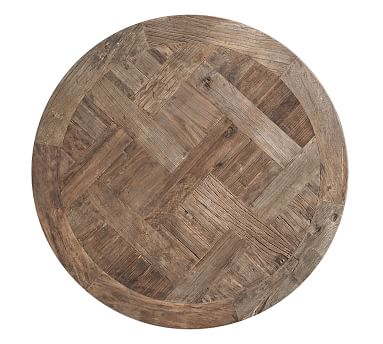 """Parquet Reclaimed Wood Round Coffee Table, 36""""L"""