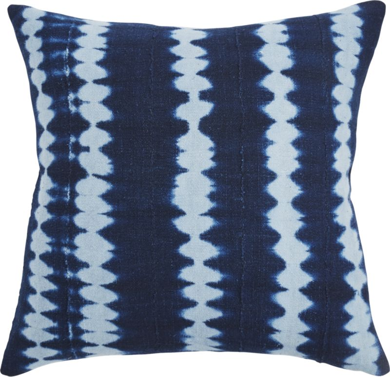 """""""23"""""""" Indigo Stripes Mudcloth Pillow with Feather-Down Insert"""""""