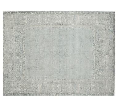 Kailee Printed Wool Rug, 5x8', Porcelain Blue