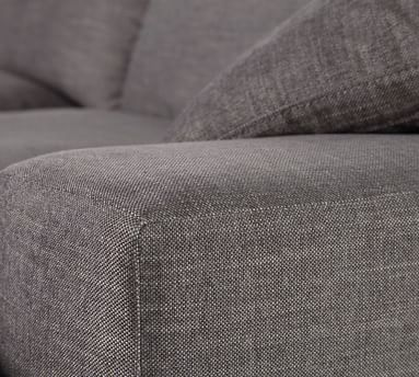 Milo Upholstered Left Arm Sofa With Chaise Sectional, Down Blend Wrapped Cushions, Performance Heathered Tweed Ivory