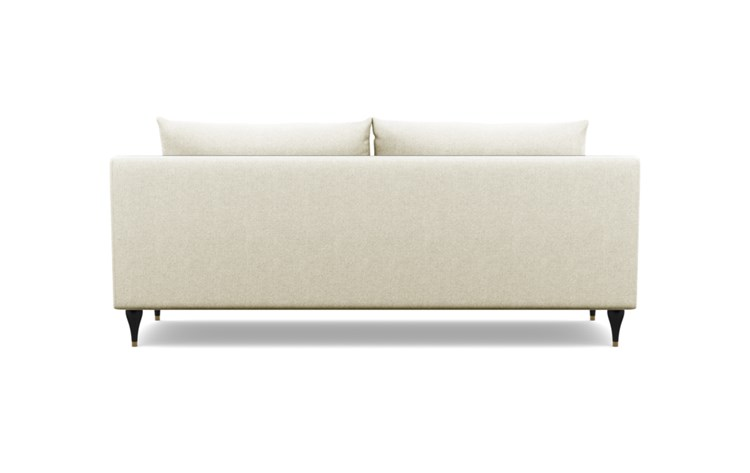 Sloan Sofa with Vanilla Fabric and Matte Black with Brass Cap legs