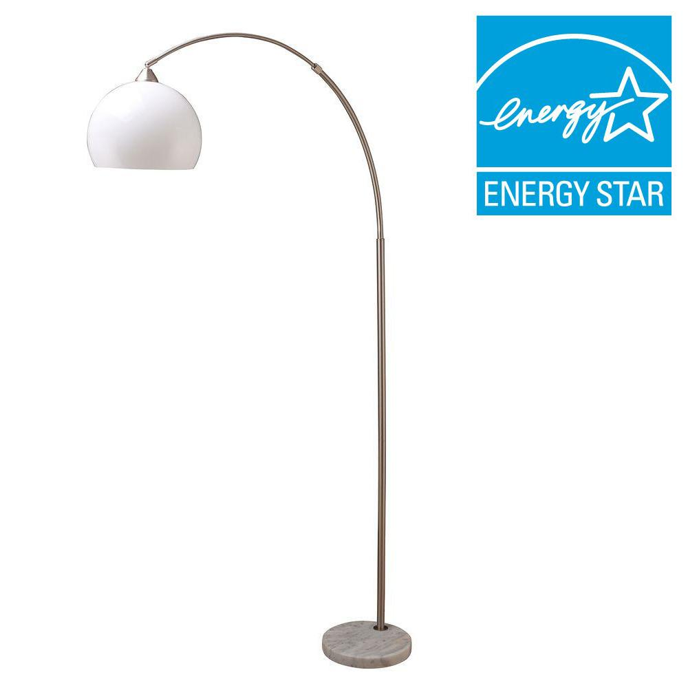 ORE International 76 in. H Modern Silver Arc Floor Lamp with White Marble Base