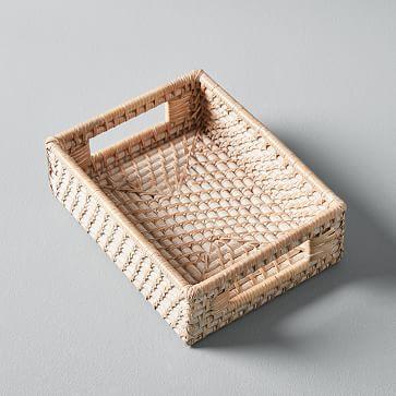 Modern Weave Basket, Whitewashed, Small