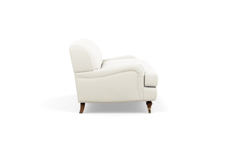 Rose by The Everygirl Sofa with White Ivory Fabric and Oiled Walnut with Brass Caster legs