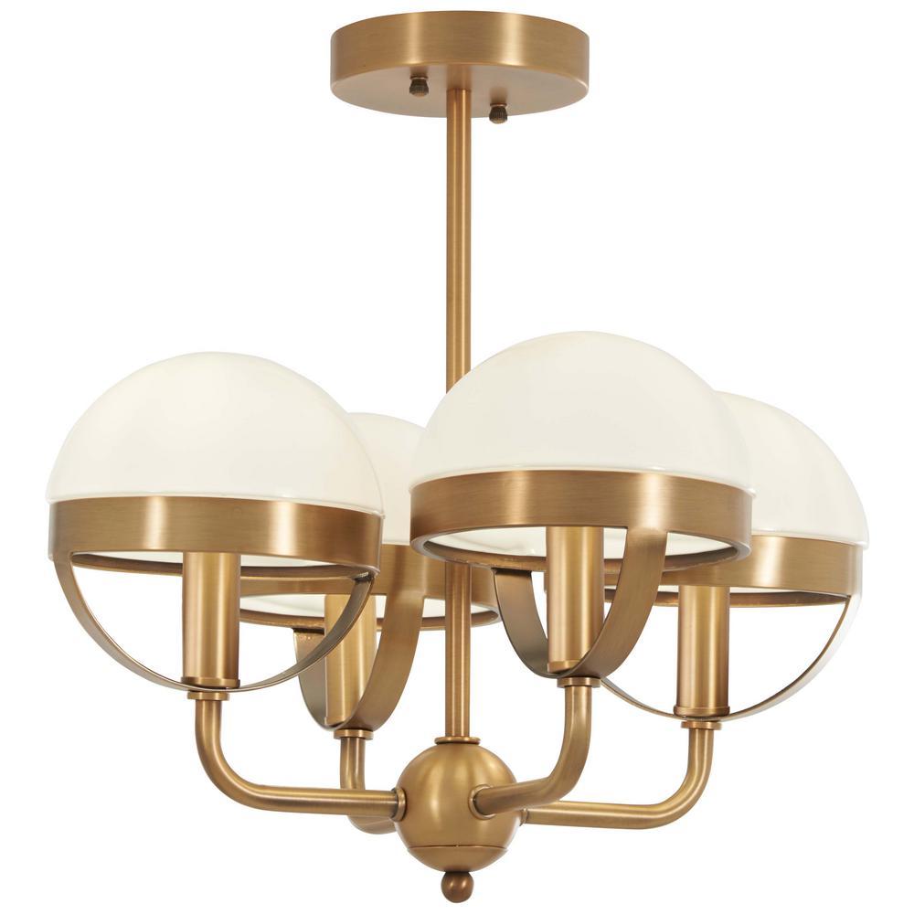 Minka Lavery Tannehill 4-Light Aged Brass Semi-Flushmount Light