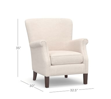 SoMa Minna Upholstered Armchair, Polyester Wrapped Cushions, Performance Twill Stone