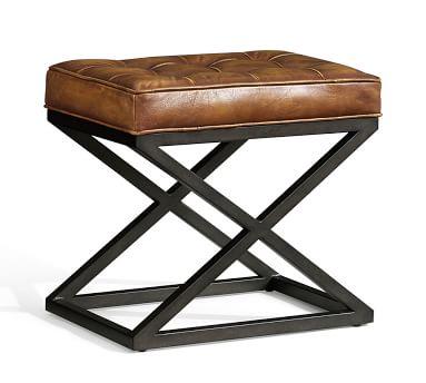 Kirkham Tufted Leather Stool, Light Brown