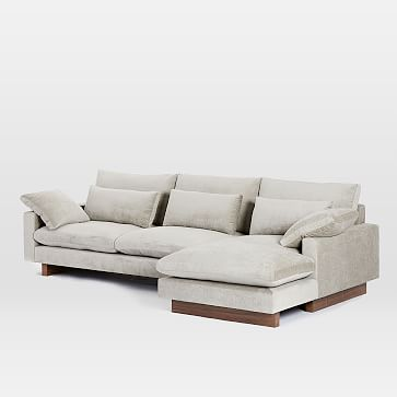 Harmony Set 1, Left Arm 2.5 Seater Sofa, Right Arm Chaise, Distressed Velvet, Light Taupe