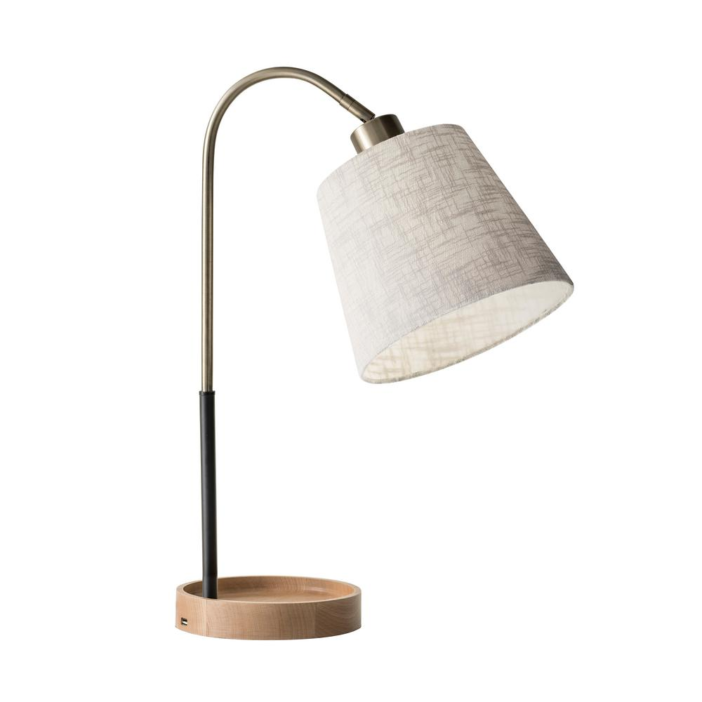 Adesso Jeffrey 21 in. Brass Table Lamp
