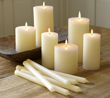 "Unscented Pillar Candles, Ivory - 3 x 6"""