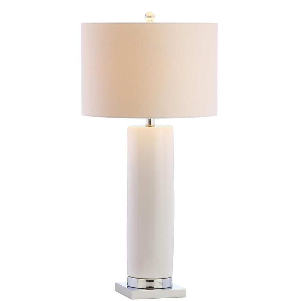 JONATHAN Y Dallas 31.5 in. White/Chrome Ceramic Table Lamp
