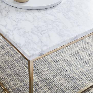 Streamline Square Coffee Table, Marble/Satin Chrome