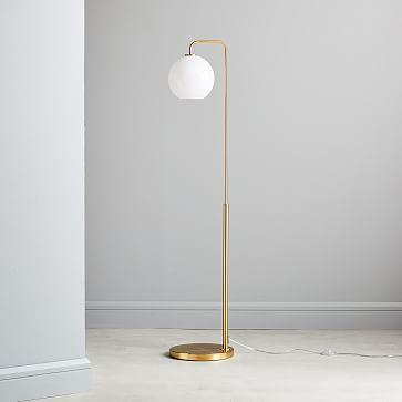 Sculptural Glass Globe Floor, Small Globe, Clear Shade, Nickel Canopy