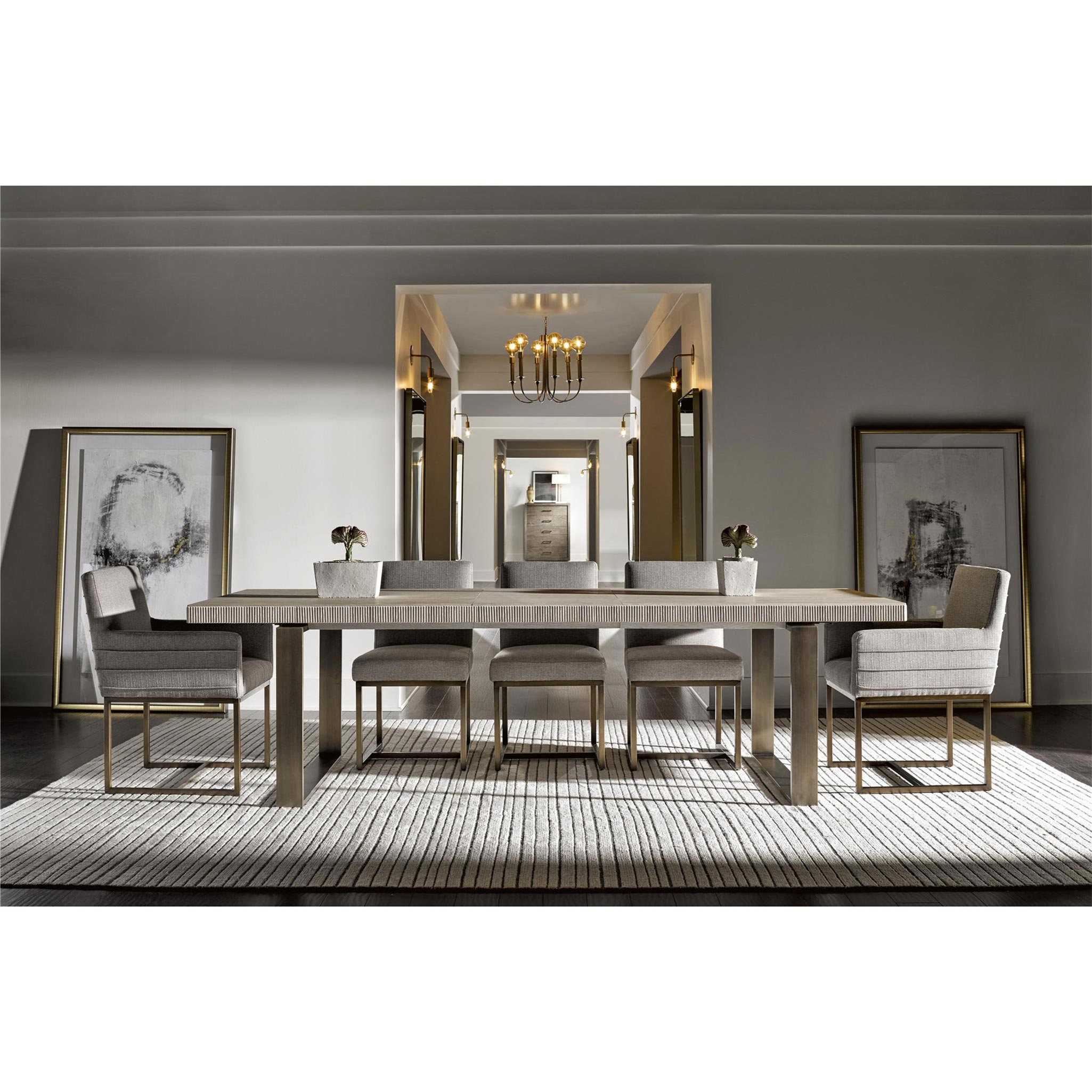 John Modern Classic Ivory Wood Top Bronze Metal Extendable Dining Table