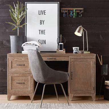 Hampton Smart Storage Desk, Simply White, In-Home