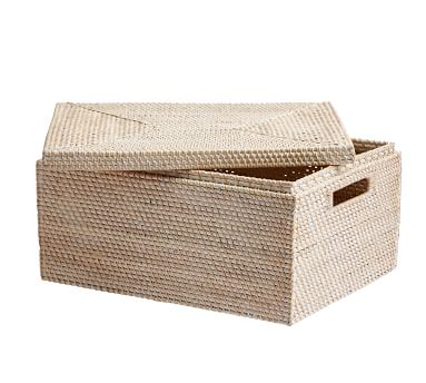 Tava Woven Lidded Basket, Medium, Whitewash