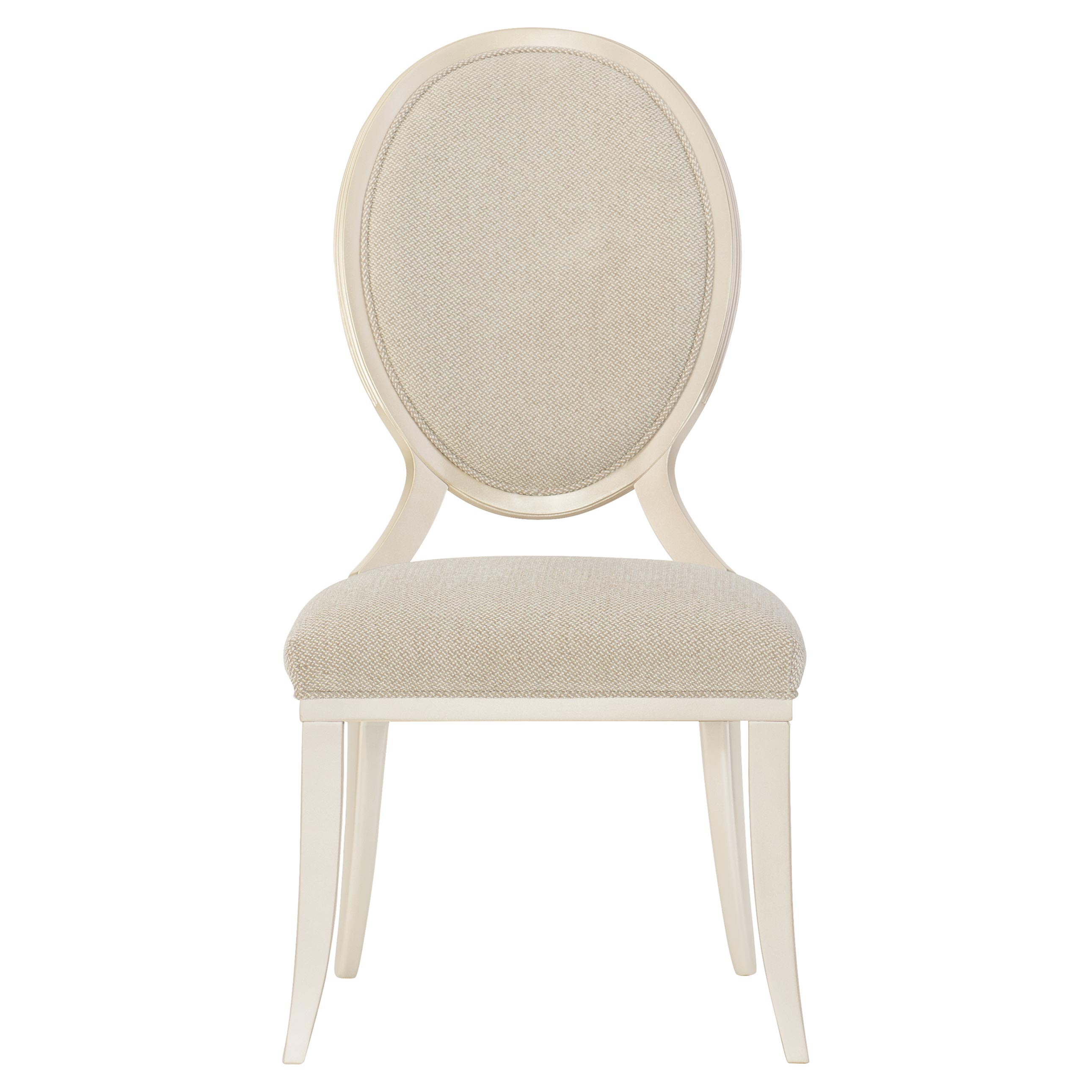 Marie French Country Beige Upholstered Oval Back Dining Side Chair - Set of 2