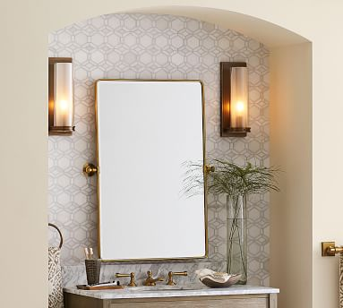 Vintage Pivot Mirror, Large, Matte Black