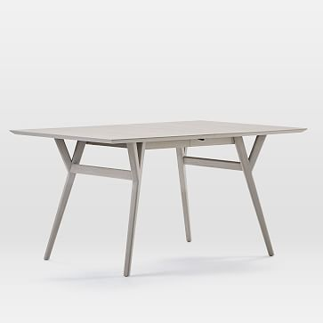 """Mid-Century Expandable Dining Table, 60-80"""", Pebble"""