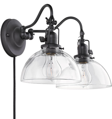 """Fords Mill 2-1/4"""" Fitter Double Swing-Arm Plug-In Sconce"""