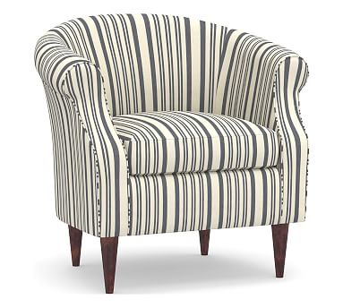 SoMa Lyndon Upholstered Armchair, Polyester Wrapped Cushions, Antique Stripe Gray