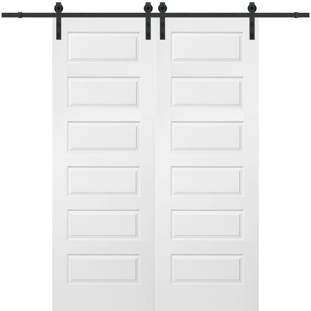 MMI Door 60 in. x 96 in. Rockport Molded Solid Core Primed MDF Smooth Surface Double Barn Door with Sliding Door Hardware Kit