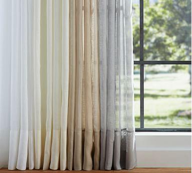 """Belgian Flax Linen Poletop Sheer Drape, 50 x 84"""", White"""