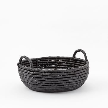 Woven Seagrass Baskets, Black, Round Centerpiece