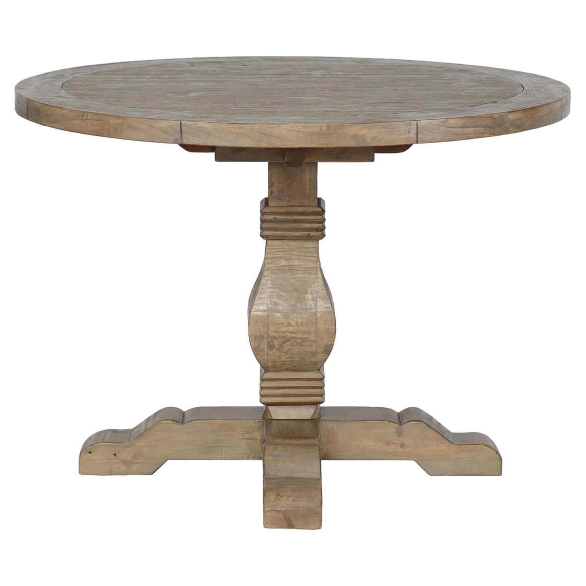 Liam Rustic Lodge Brown Distressed Solid Pine Round Dining Table - 42D