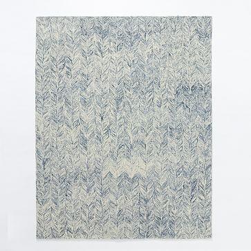 Vines Wool Rug, 9'x12', Blue lagoon