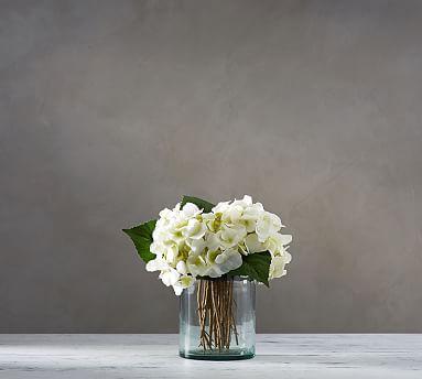 Faux White Hydrangea Arrangement in Glass Vase