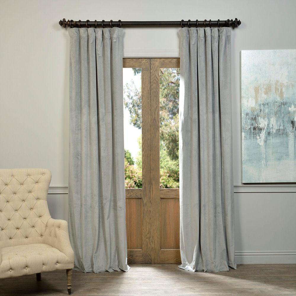 Exclusive Fabrics & Furnishings Blackout Signature Silver Grey Blackout Velvet Curtain - 50 in. W x 108 in. L (1 Panel)