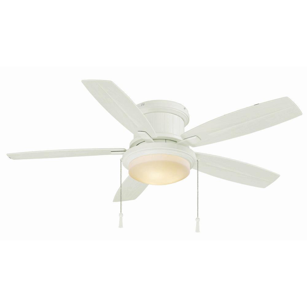 Hampton Bay Roanoke 48 in. LED Indoor/Outdoor Matte White Ceiling Fan with Light Kit