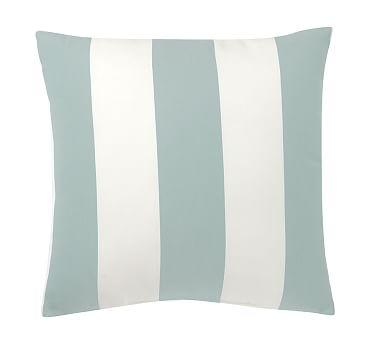 "Sunbrella(R) Awning Stripe Indoor/Outdoor Pillow, 24"", Spa Blue"