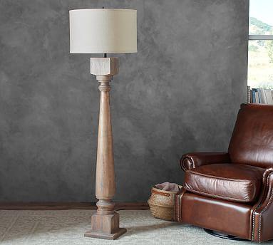 Finn Turned Wood Floor Lamp Base