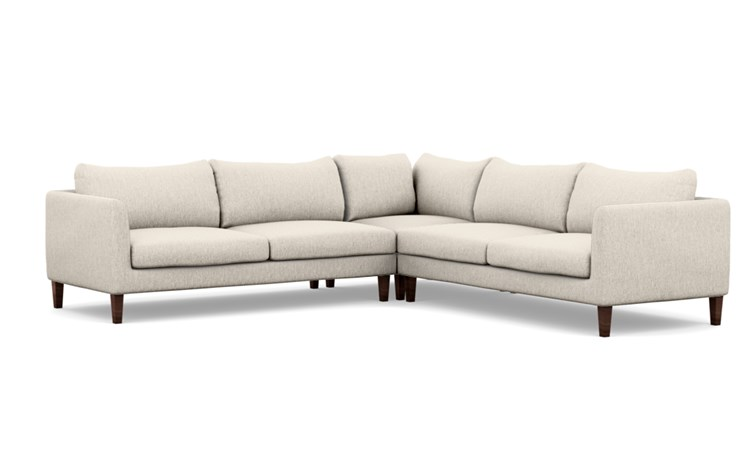Owens Corner Sectional with Beige Wheat Fabric and Oiled Walnut legs