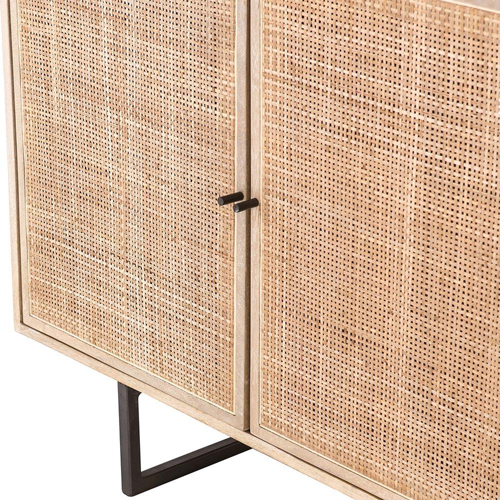Emilie Coastal Beach 4 Door Natural Mango Wood Metal Legs Sideboard