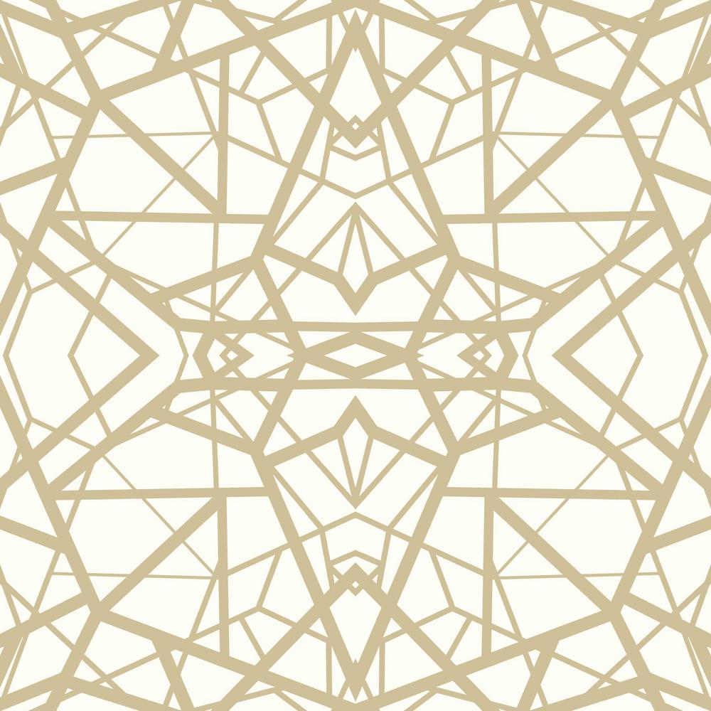 28.18 sq. ft. Shatter Geometric White/Gold Peel and Stick Wallpaper