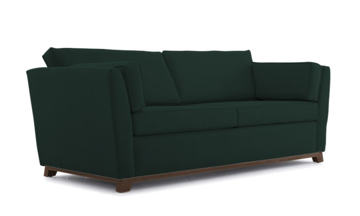 Green Roller Mid Century Modern Sleeper Sofa - Royale Evergreen - Coffee Bean