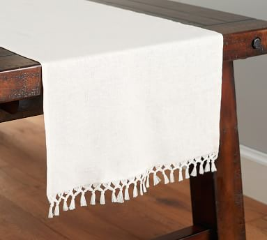 Fringed Linen Knotted Table Runner, Large, Flax