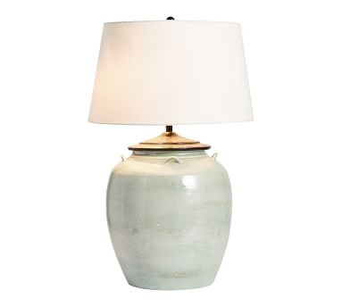 """Courtney Ceramic 29"""" Table Lamp, Large Seafoam Base with Large Tapered Gallery Shade, White"""