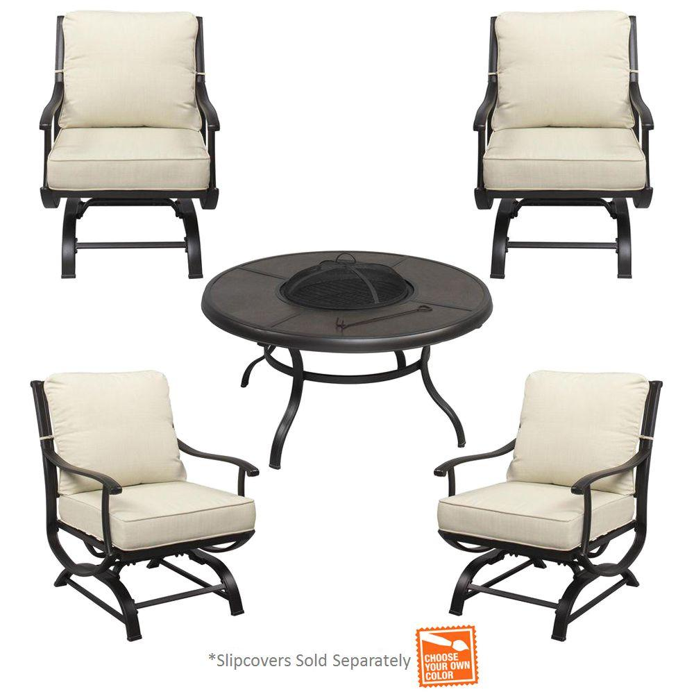 Hampton Bay Redwood Valley 5-Piece Metal Patio Fire Pit Seating Set with Cushions Included, Choose Your Own Color