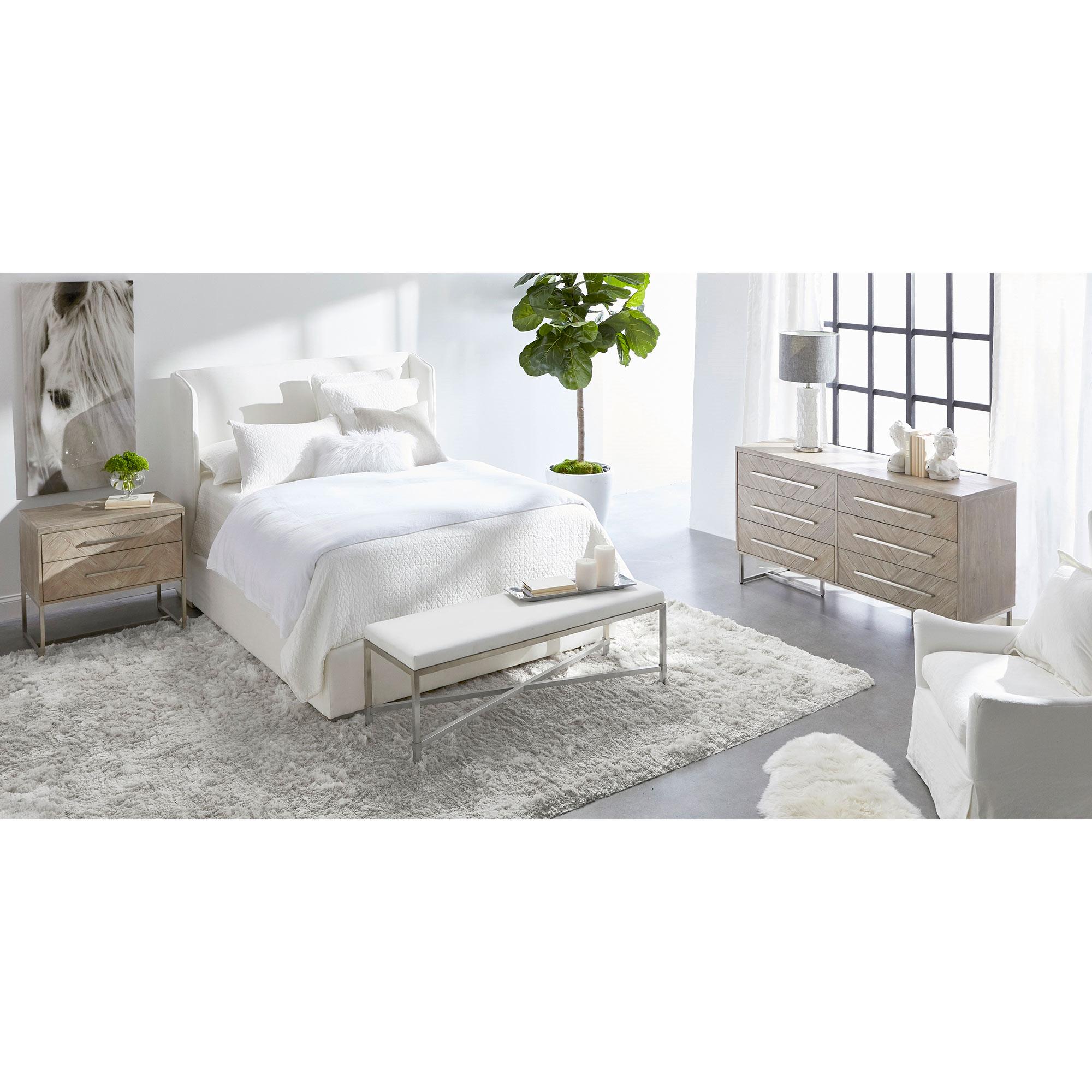 Moris Modern Classic 6-Drawer Stainless Steel Pulls Natural Grey Double Dresser
