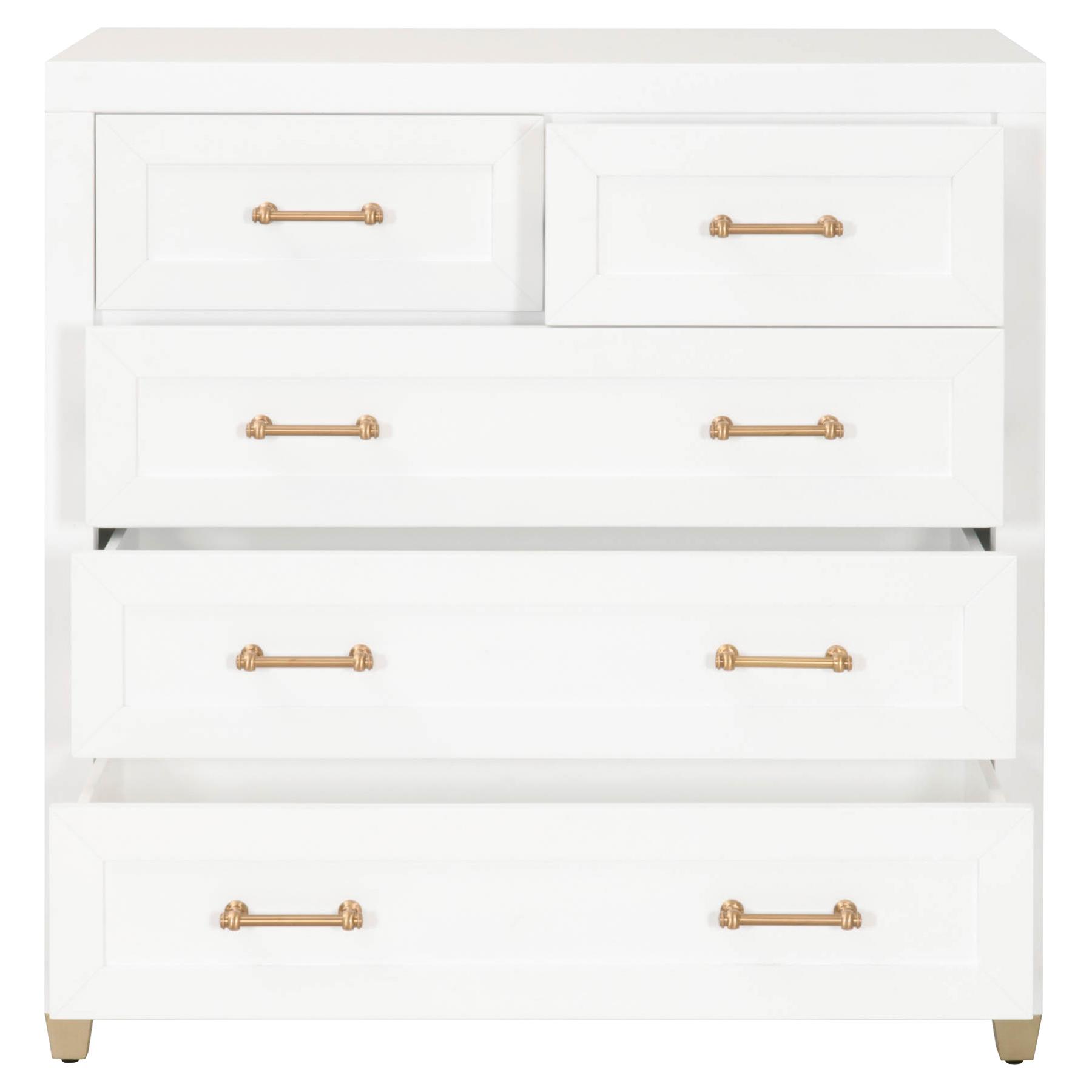 Stacy Modern Classic 5-Drawer Brass Accent White Dresser
