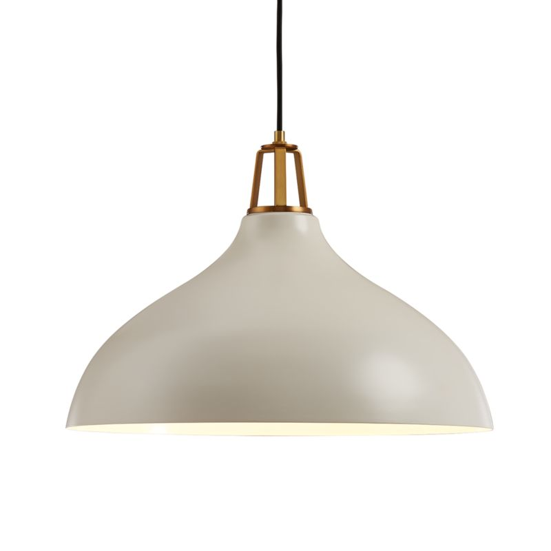 Maddox White Bell Pendant Large with Brass Socket