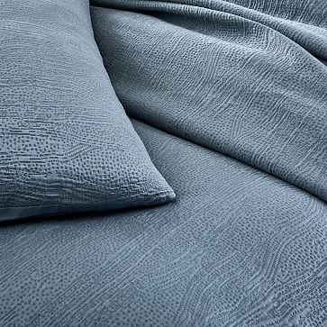 TENCEL Cotton Matelasse Duvet Cover, Full/Queen, Stormy Blue