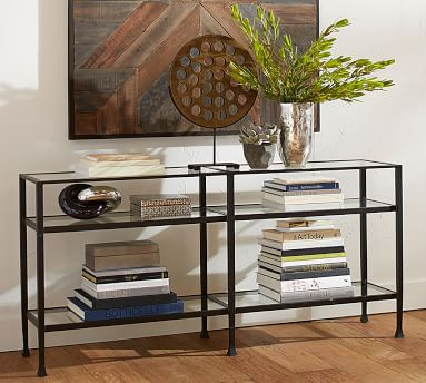 Tanner Metal and Glass Long Console Table, Matte Iron-Bronze finish