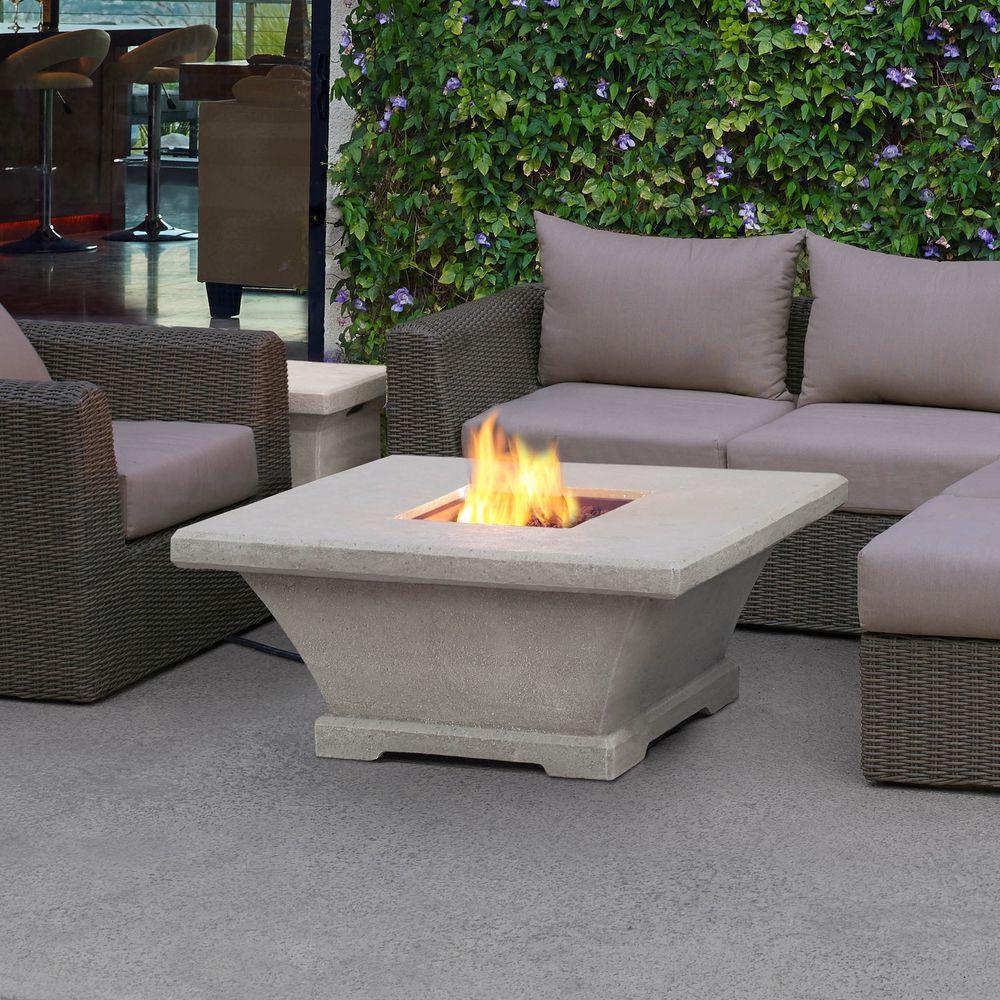 Real Flame Monaco 42 in. Fiber-Concret Square Propane Gas Fire Pit in Cream (Ivory)